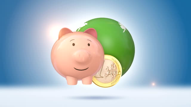 Piggy Bank And Euro Coin With Green Globe