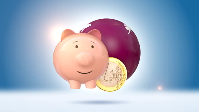 Piggy Bank And Euro Coin With Orbiting Red Globe