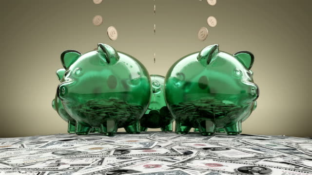 Piggy Bank And Falling Dollar Coins Loop Animation Piggy bank and falling dollars coins loop animation. Glass pigs earn falling coins staying on the dollars money hillock. piggy bank stock videos & royalty-free footage