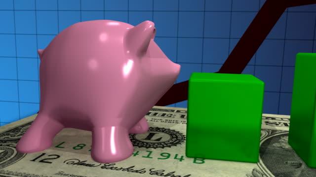vídeos y material grabado en eventos de stock de alcancía escala de gráfico de barras - planificación financiera