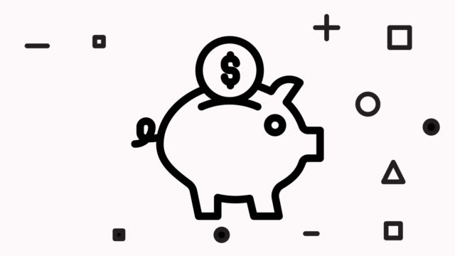 piggy bank icon animation - clip art video stock e b–roll