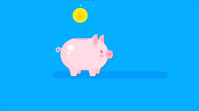 Piggy bank icon animation video. Moneybox motion concept Piggy bank icon animation video. Moneybox motion concept piggy bank stock videos & royalty-free footage