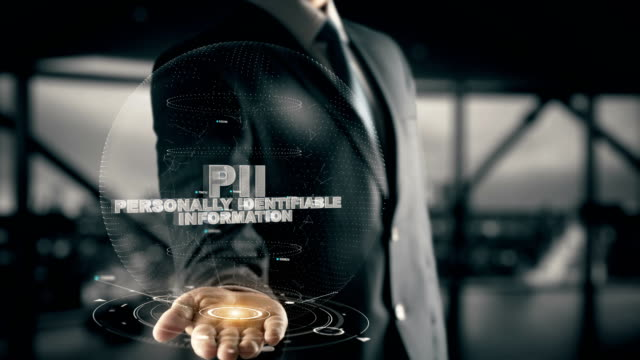 PII-Personally Identifiable Information with hologram businessman concept