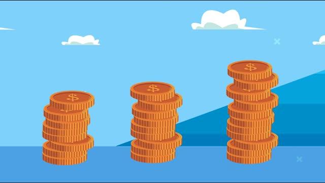 pile monete soldi dollari e animazione collina - full hd format video stock e b–roll