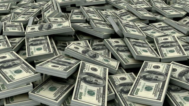 Pile of $ 100 currency stacks (loop) video