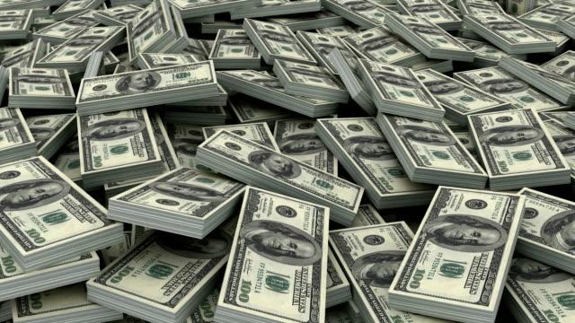 Pile of $ 100 currency stacks (loop) 3d animation of $ 100 currency stacks in loop heap stock videos & royalty-free footage