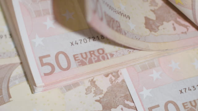 Pile of Fifty Euro Banknotes on a Table video