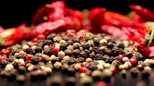 Pile of multi color peppercorns and dried chili video