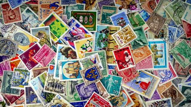 Pile Of Stamps From Around The World video