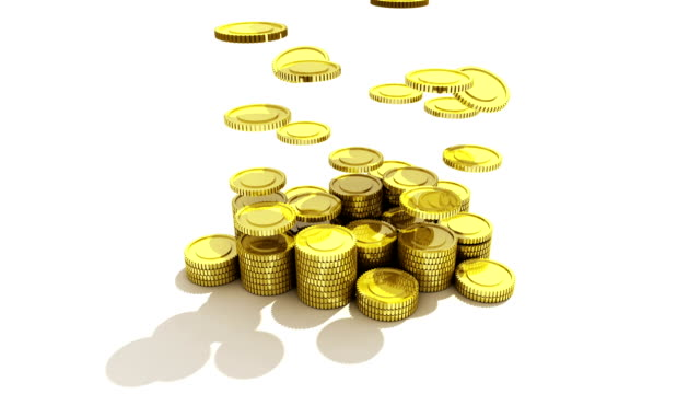 Pile up Golden coins and bar, expressed growth profits 2 video