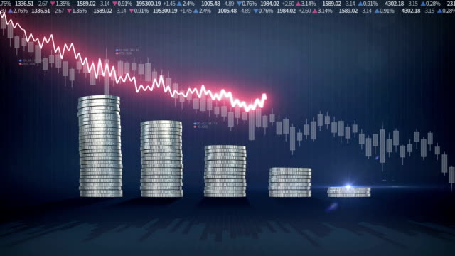 Pile up Golden coins and decrease red waveform line, expressed growth stock market, economic profits video