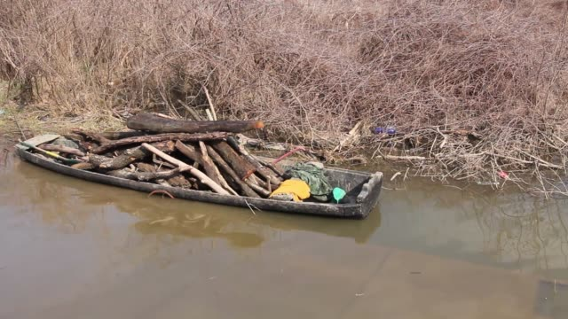 Piled wood in small rowing boat