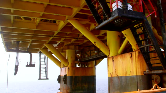 Piles of offshore fixed gas and oil production platform video