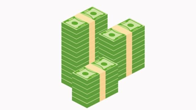 vídeos y material grabado en eventos de stock de pilas de papel dinero crecen animación sobre fondo blanco. - montón