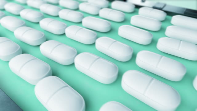 pills production process seamless. beautiful looped 3d animation of medicine industrial conveyor line with tablets, factory equipment. pharmaceutical business concept. - vitamin d filmów i materiałów b-roll