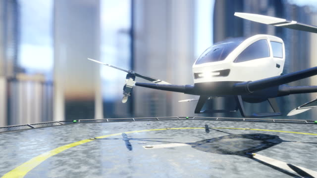 Pilotless passenger air taxi makes a departure for the call of the client. The concept of the future unmanned taxi. 3D rendering of animation.