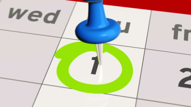 Pin on the date number 1 in calendar. video