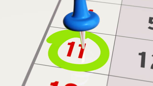 Pin on the date number 11 in calendar. video