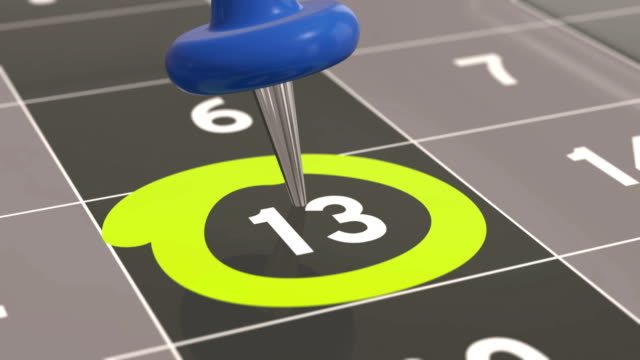 Pin on the date number 13 in calendar. video