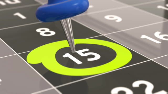 Pin on the date number 15 in calendar. video