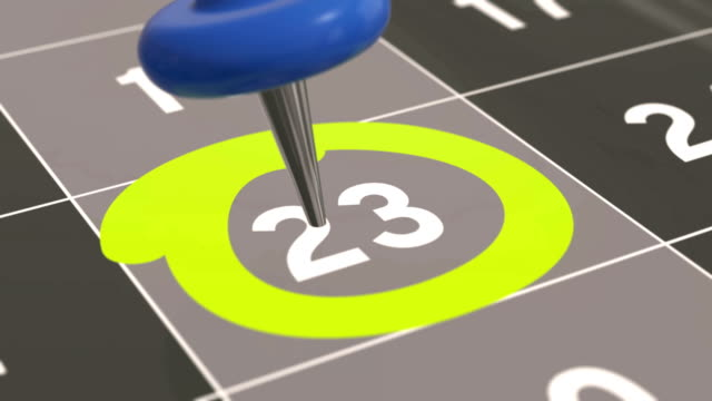 Pin on the date number 23 in calendar. video
