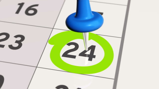 Pin on the date number 24 in calendar. video