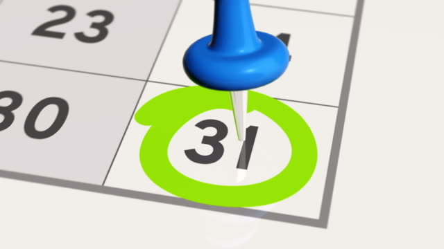 Pin on the date number 31 in calendar. video