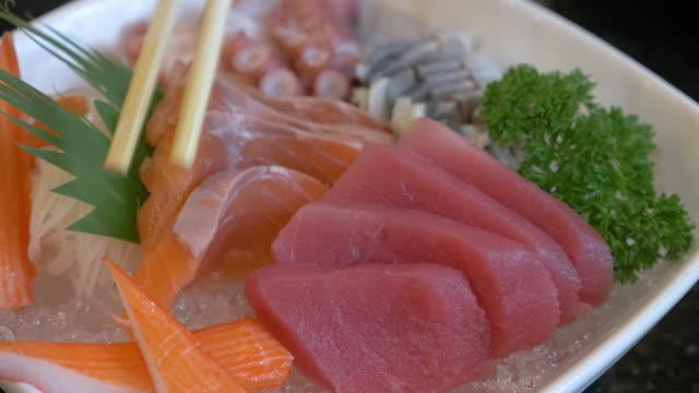 Pinching Salmon Sashimi video