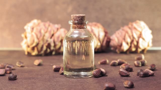 pine nut oil close-up. selective focus. use of oil in cosmetology, dietetics, useful products Pine nut oil on a brown background is traditionally used in the treatment of skin diseases. This is an excellent tool for healing wounds, cuts and burns. pine nut stock videos & royalty-free footage