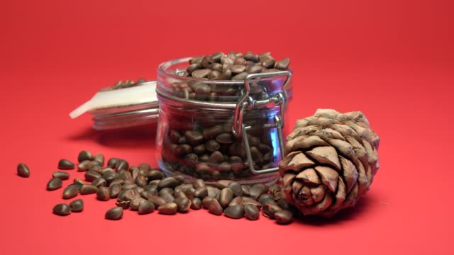 Pine nuts are in a glass jar on a red background Pine nuts are in a glass jar on a red background pine nut stock videos & royalty-free footage
