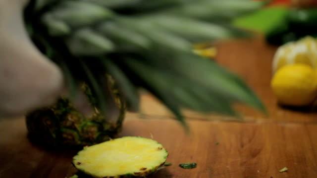Pineapple Ananas Cut Pineapple Ananas Cut Chef ninja stock videos & royalty-free footage