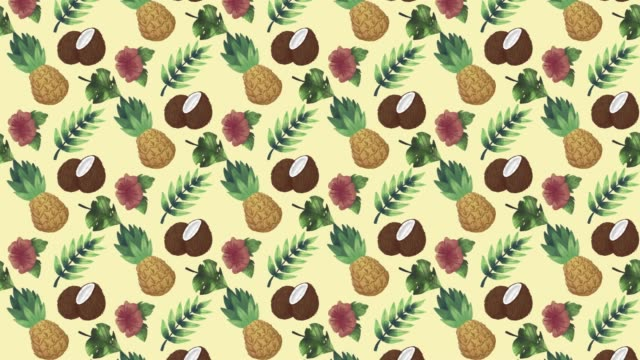 Pineapple and coconut moving summer pattern.