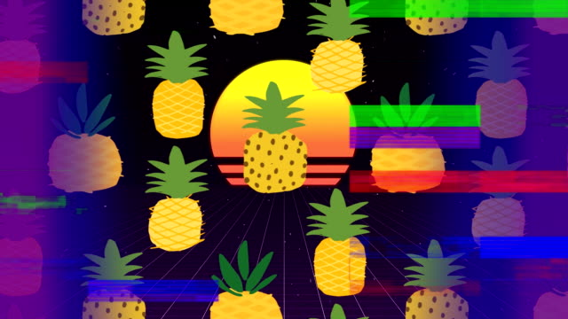 Pineapple with beatch sunset on center of video with sizzle srip on foreground