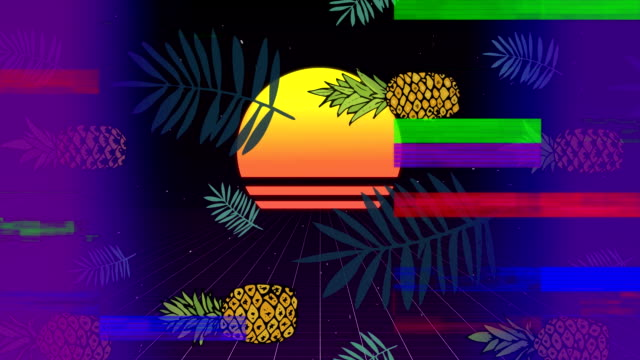 Pineapple with sunset with colorful sizzle strip