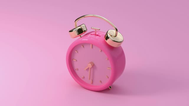 pink alarm motion 3d rendering video