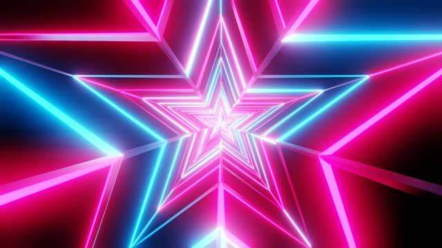 Roze en blauwe sterren abstract video