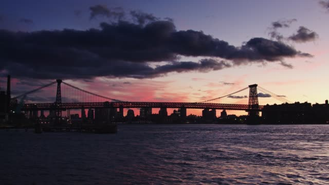 Pink and Purple Sunset Behind Williamsburg Bridge video