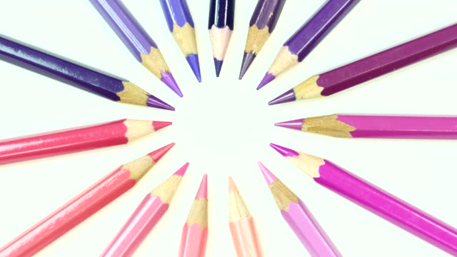 Pink and purple tone color pencil. Top view. video