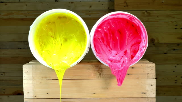 pink and yellow colors of ink for print tee shirt video