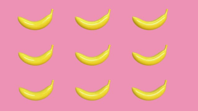 pink background yellow abstract banana cartoon style 3d rendering food/fruits healthy concept
