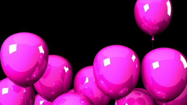 Pink Balloons On Black Background video