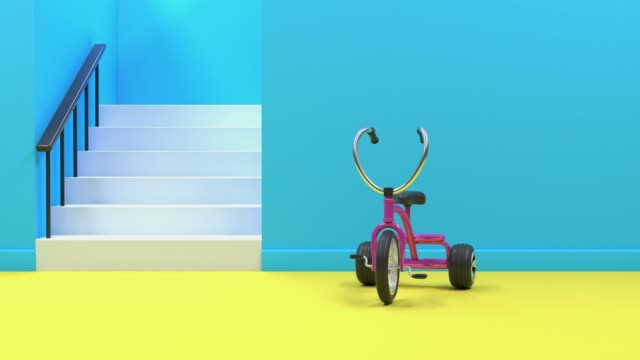 pink bicycle/tricycle in blue yellow room abstract motion 3d rendering