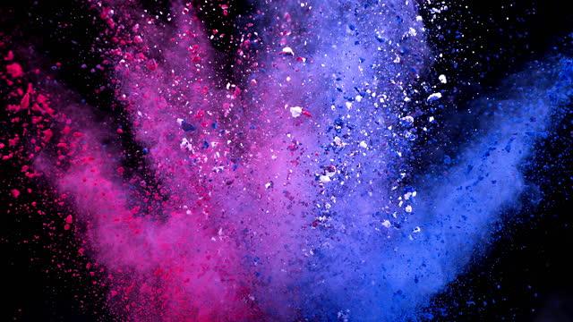 Pink Blue Color Powder Explosion Super Slow Motion