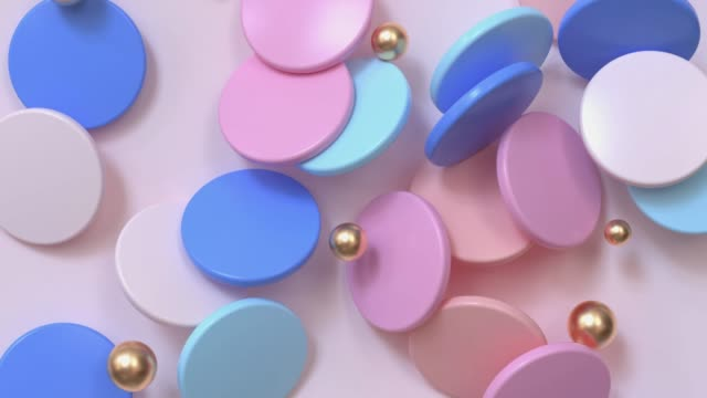 pink blue flat circle gold ball group levitation abstract motion 3d rendering video
