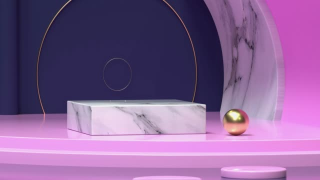 pink blue scene marble texture abstract blank podium 3d rendering motion video