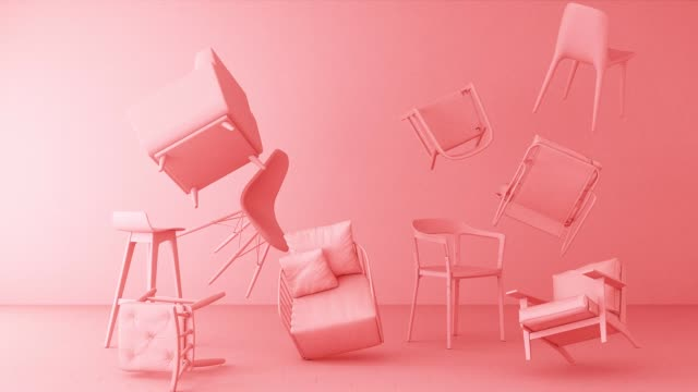 pink chairs in empty white background. concept of minimalism & installation art. 3d rendering mock up - twórczy zawód filmów i materiałów b-roll