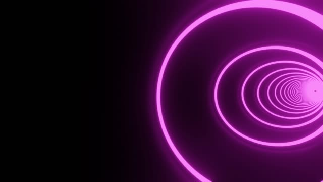 Roze cirkel neontunnel. Loopable abstracte achtergrond. video