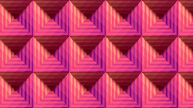 Pink colored striped pyramids seamless loop animation background. 3d rendering. HD resolution