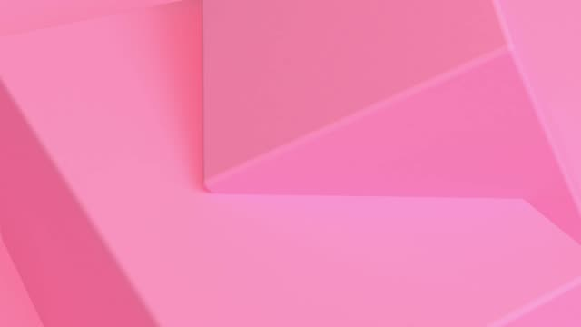 Pink Cube Abstract 3d rendering of looped animation with geometric shapes. Motion design, 4k UHD