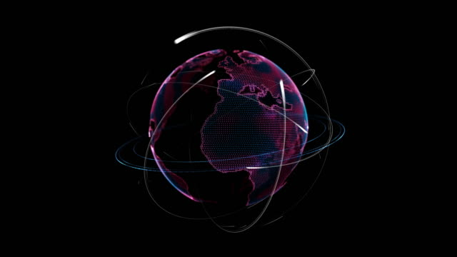 Pink earth technology globe rotating with atom with electrons orbit around the earth video